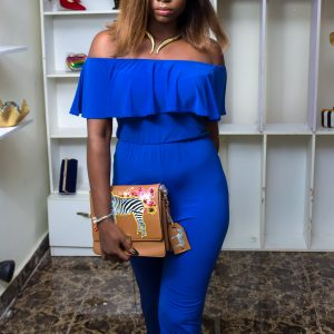 Blue Off Shoulder Jumpsuit With Cape